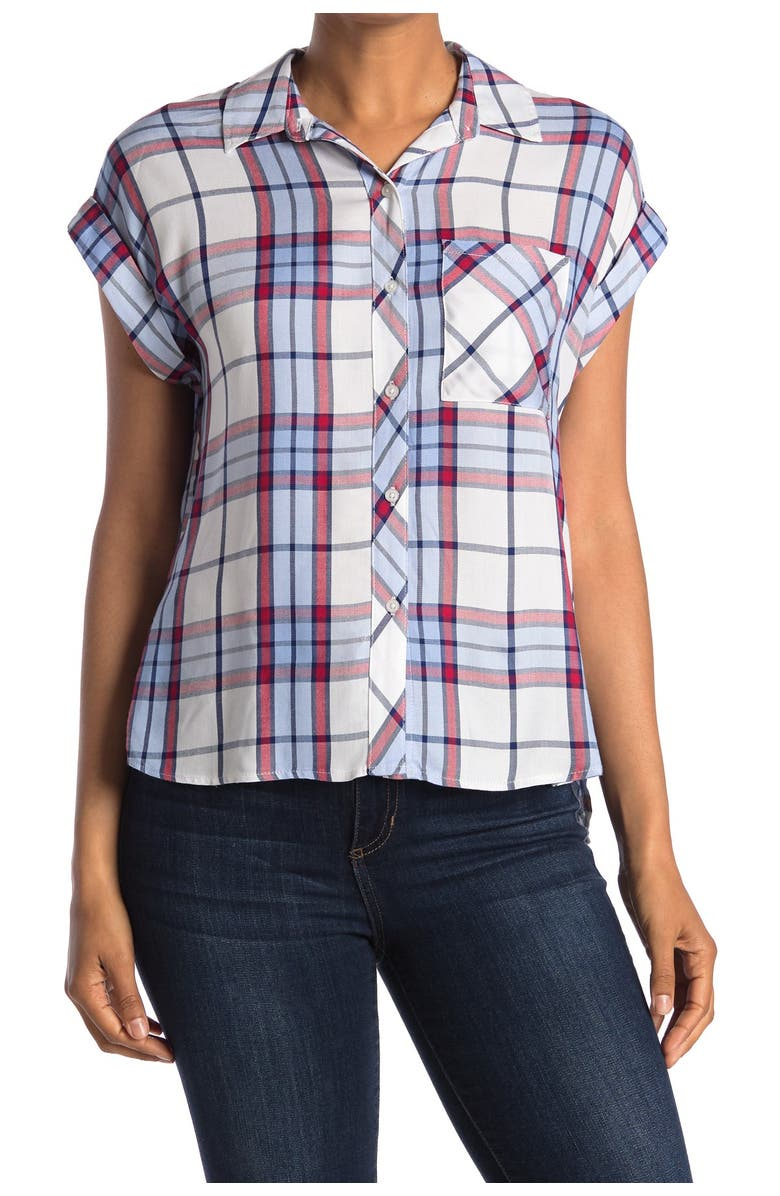 COMO VINTAGE Short Sleeve Woven Top, Main, color, RED BLUE NAVY PLAID