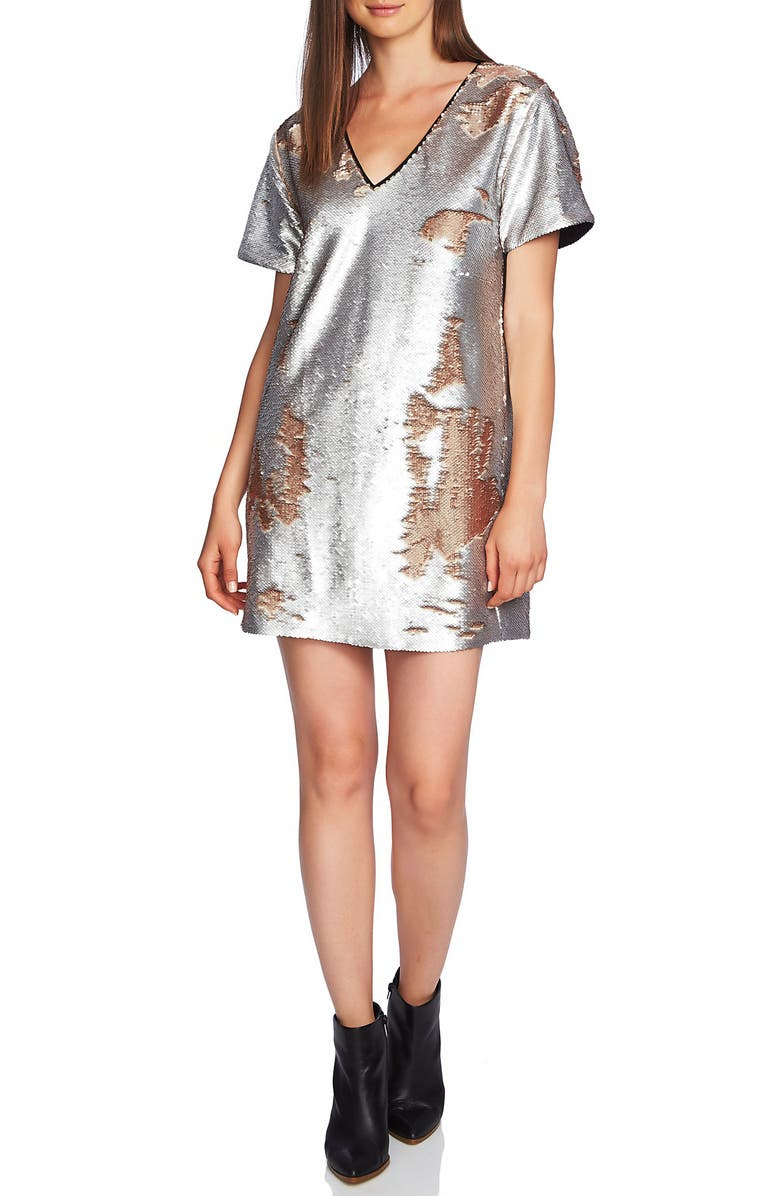 1.STATE Sequin Minidress, Main, color, SILVER MIST