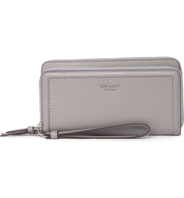 KATE SPADE NEW YORK anita leather zip around wallet, Main, color, SOFTTAUPE