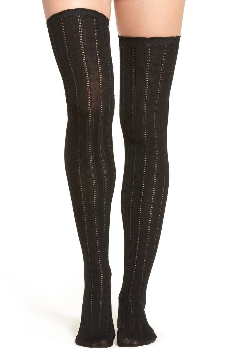 FREE PEOPLE 'All For One' Pointelle Knit Over The Knee Socks, Main, color, 001