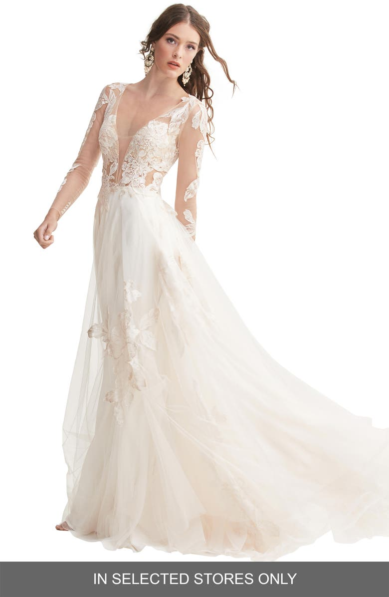 WILLOWBY Rhapsody Lace & Tulle A-Line Wedding Dress, Main, color, BLOOM