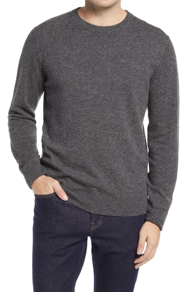 EVERLANE Cashmere Crewneck Sweater, Main, color, DARK GREY DONEGAL