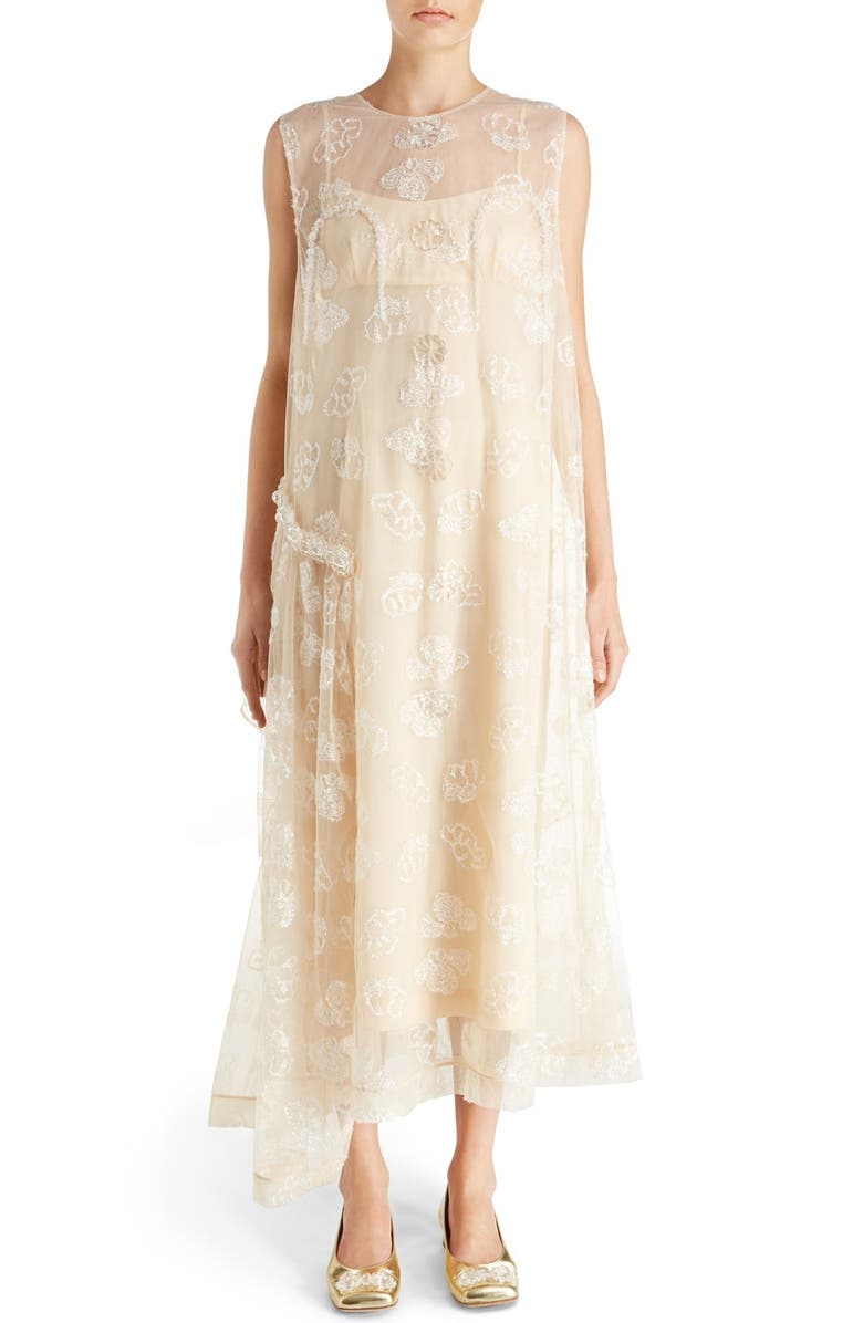 SIMONE ROCHA Tinsel Embroidered Button Front Chiffon Dress, Main, color, NUDE