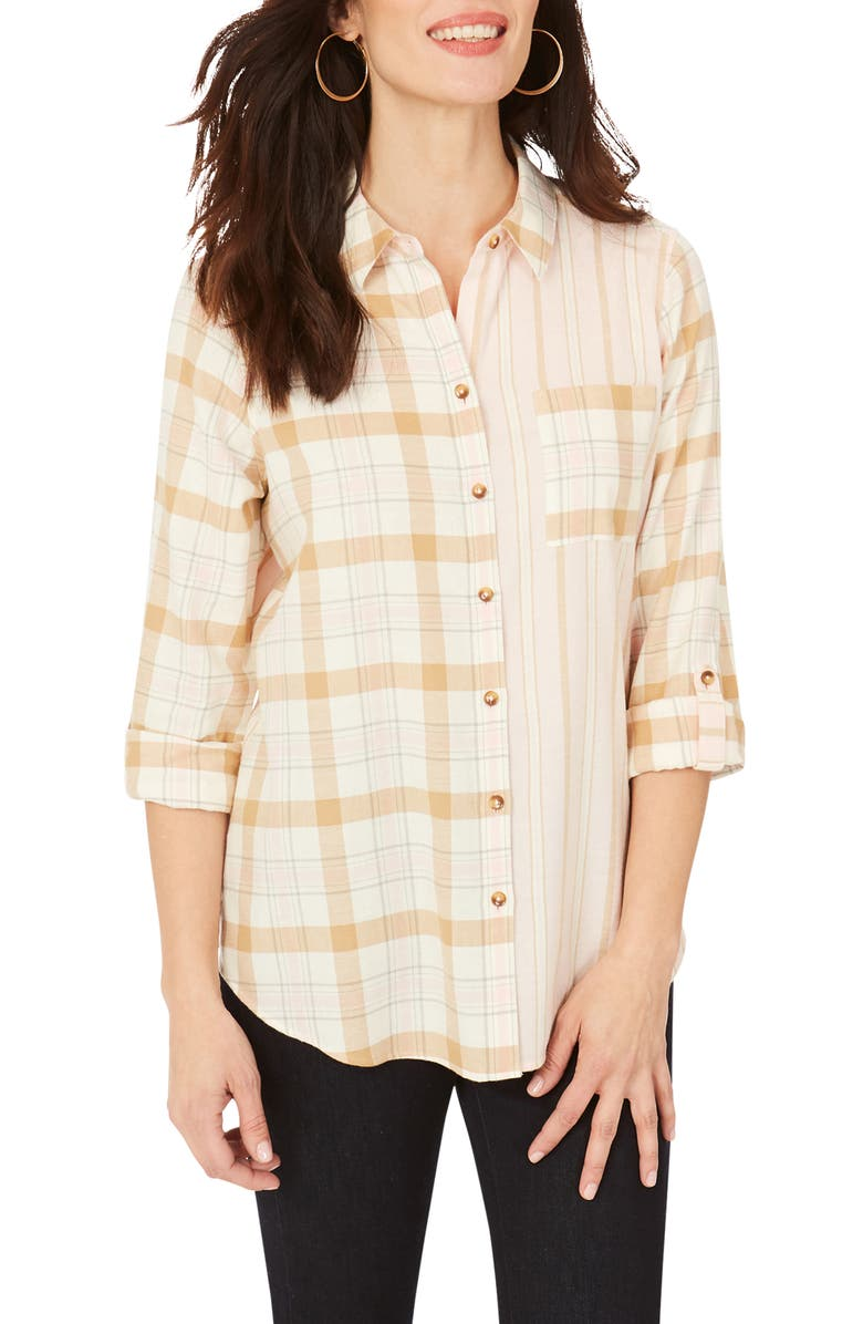 FOXCROFT Zoey Mixed Print Brushed Cotton Shirt, Main, color, BLUSH