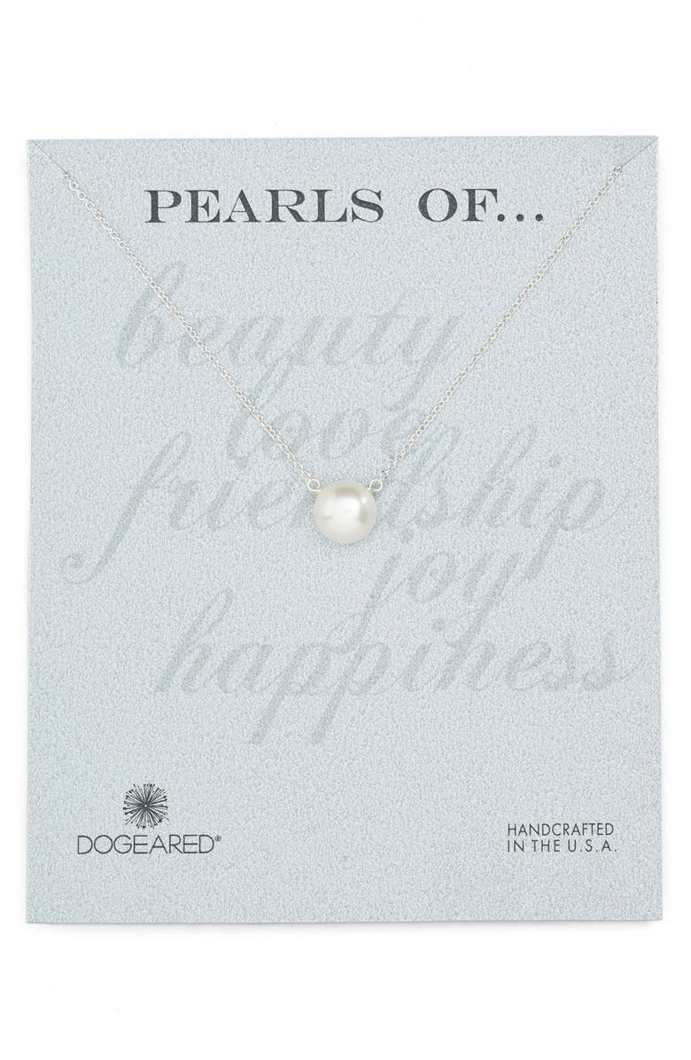 DOGEARED Freshwater Pearl Pendant Necklace, Main, color, PEARL / SILVER