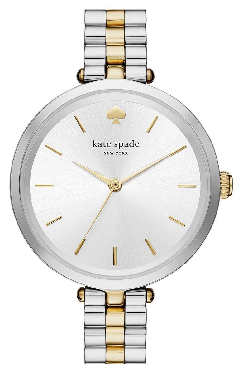 KATE SPADE NEW YORK holland bracelet watch, 34mm, Main, color, SILVER/ GOLD