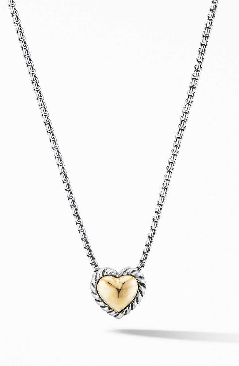 DAVID YURMAN Cable Cookie Classic Heart Necklace with 18K Yellow Gold, Main, color, TWO TONE