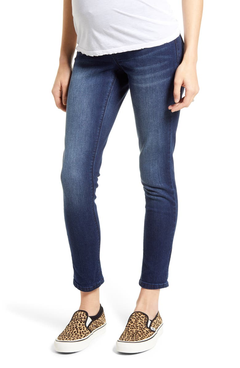 1822 DENIM Over the Belly Maternity Skinny Jeans, Main, color, MARCO