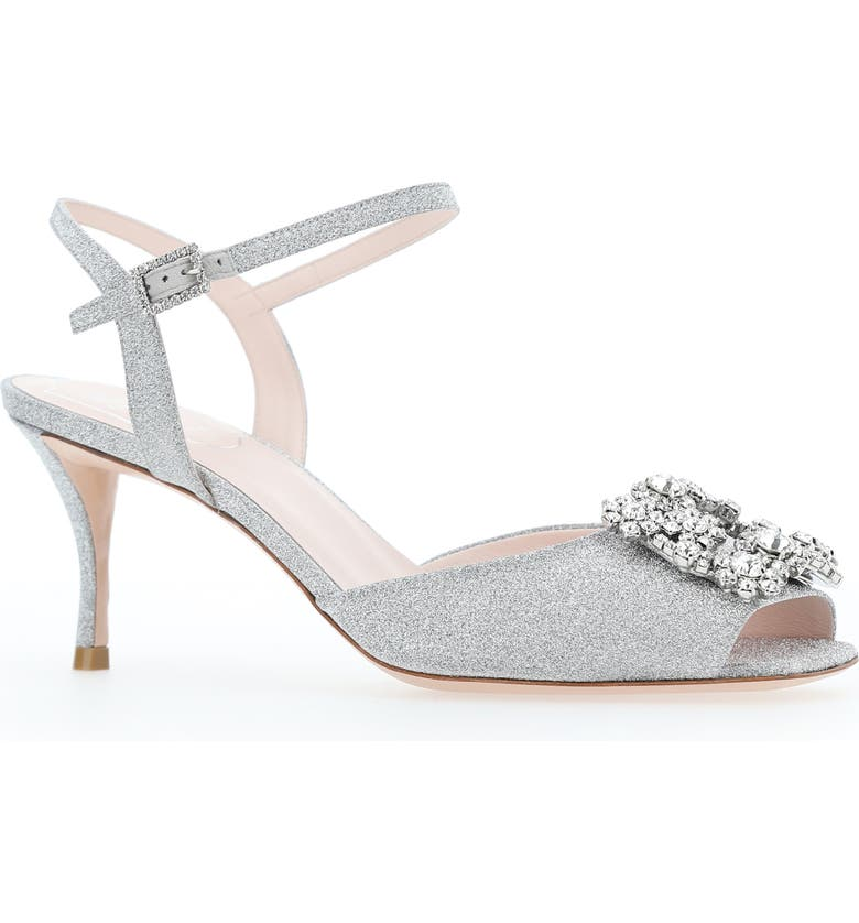 ROGER VIVIER Flower Strass Buckle Sandal, Main, color, Silver