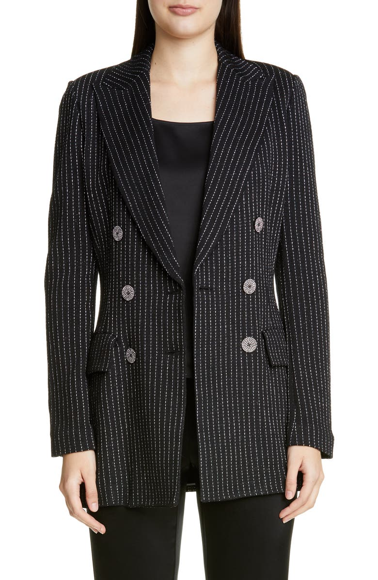 ST. JOHN COLLECTION Evening Paillette Pinstripe Double Breasted Blazer, Main, color, 001