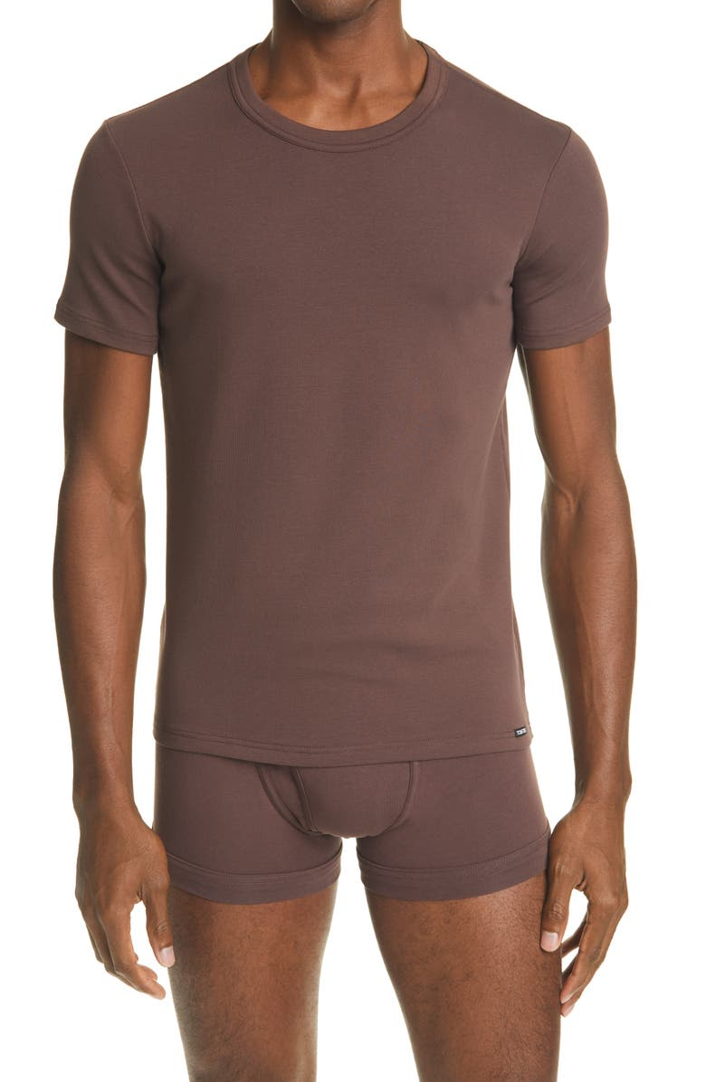 TOM FORD Cotton Jersey Crewneck T-Shirt, Main, color, NUDE