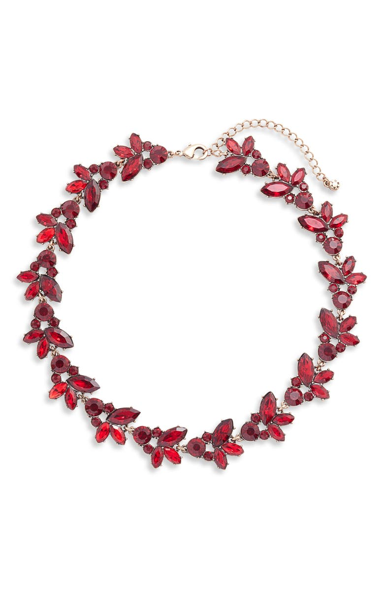 KNOTTY Crystal Statement Collar Necklace, Main, color, RED/ GOLD