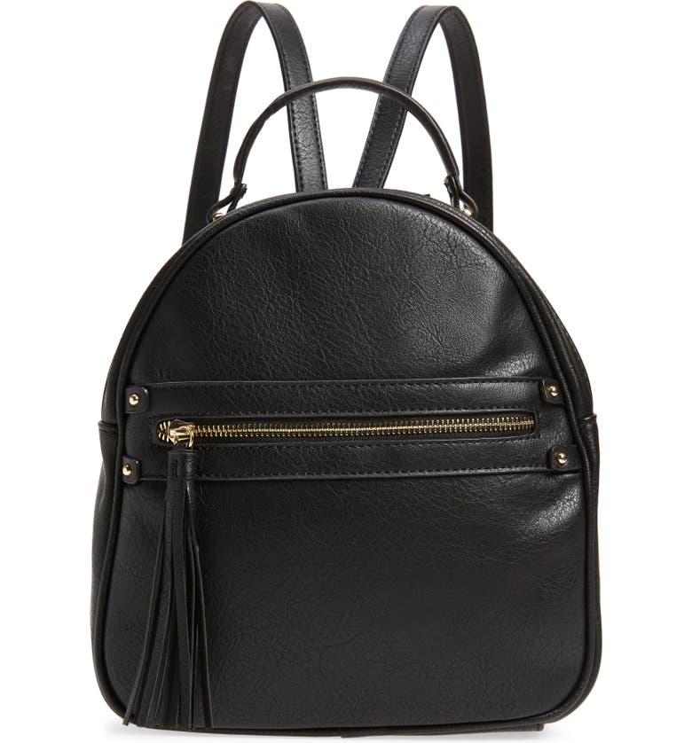 SOLE SOCIETY Faux Leather Backpack, Main, color, 001