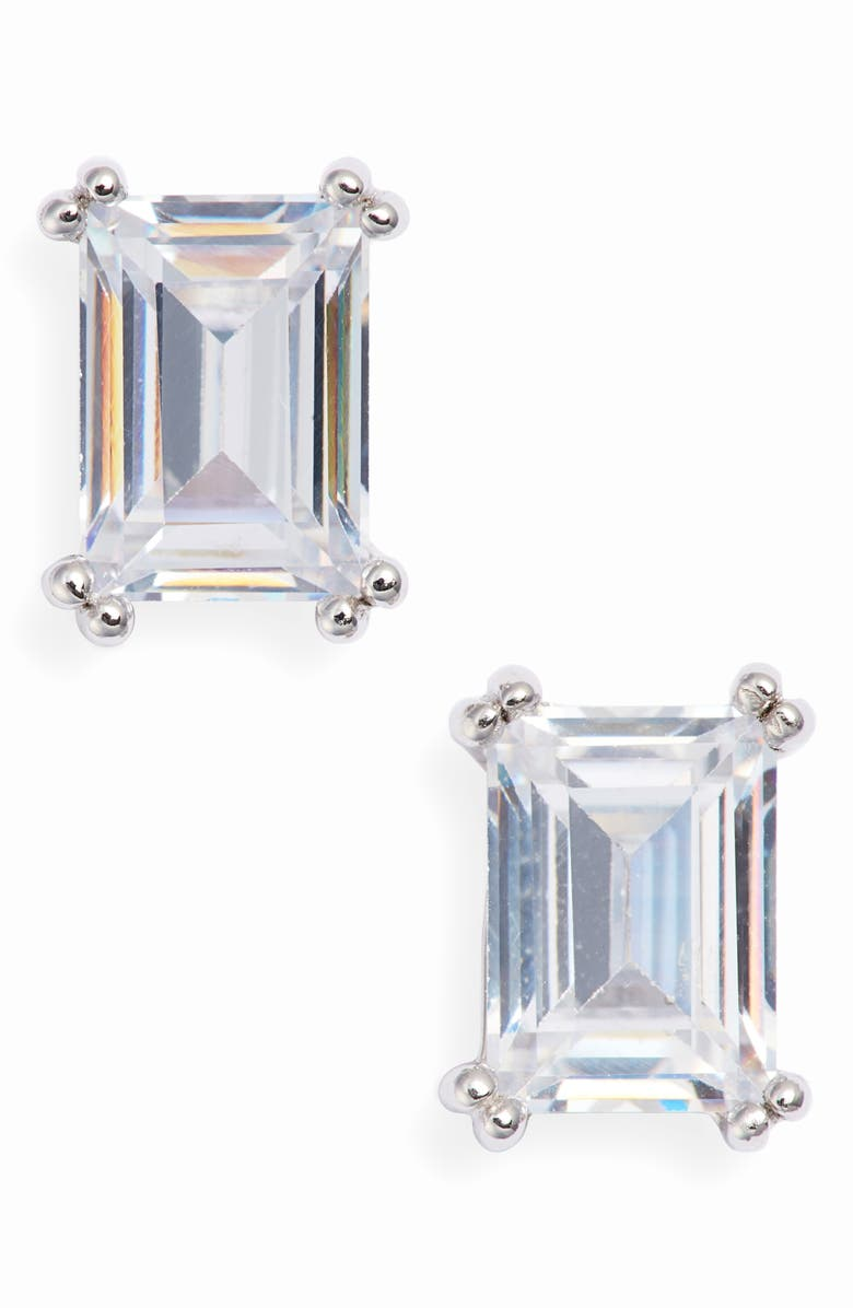 NORDSTROM Cubic Zirconia Stud Earrings, Main, color, CLEAR- SILVER