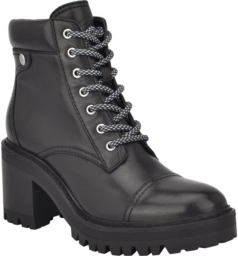 MARC FISHER LTD Wenner Lace-Up Boot, Main, color, BLACK LEATHER