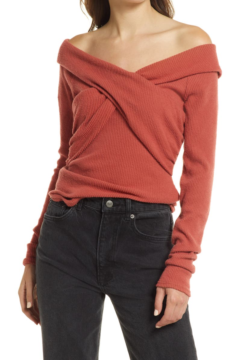 FREE PEOPLE Marley Off the Shoulder Rib Top, Main, color, WARM STONE