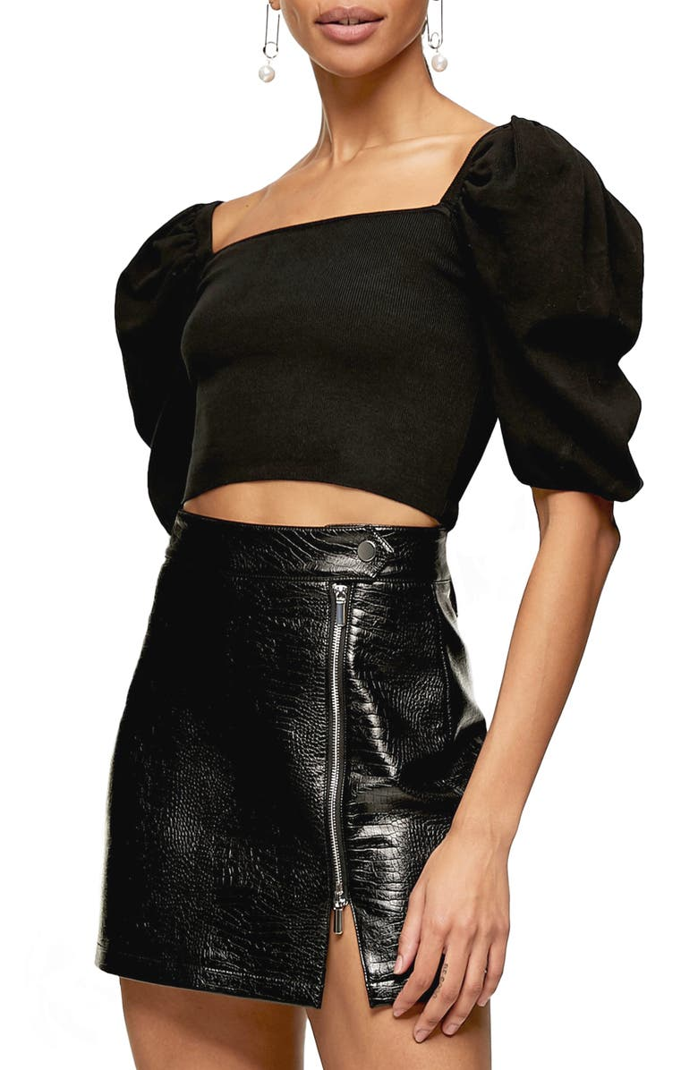 TOPSHOP Puff Sleeve Square Neck Knit Crop Top, Main, color, 001