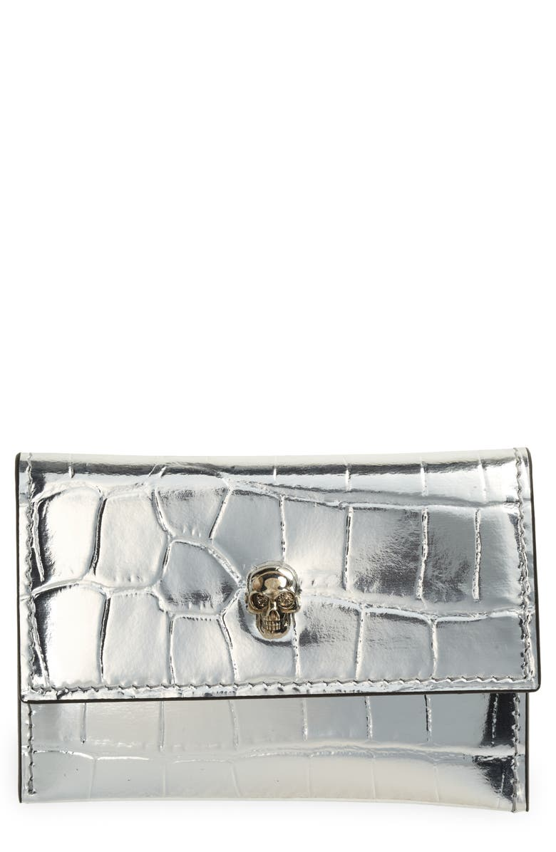 ALEXANDER MCQUEEN Skull Croc Embossed Leather Card Case, Main, color, SILVER