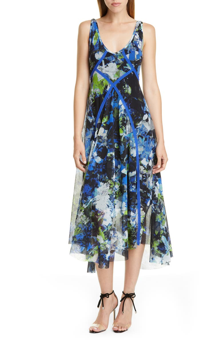 FUZZI Floral Print Asymmetrical Midi Dress, Main, color, 001