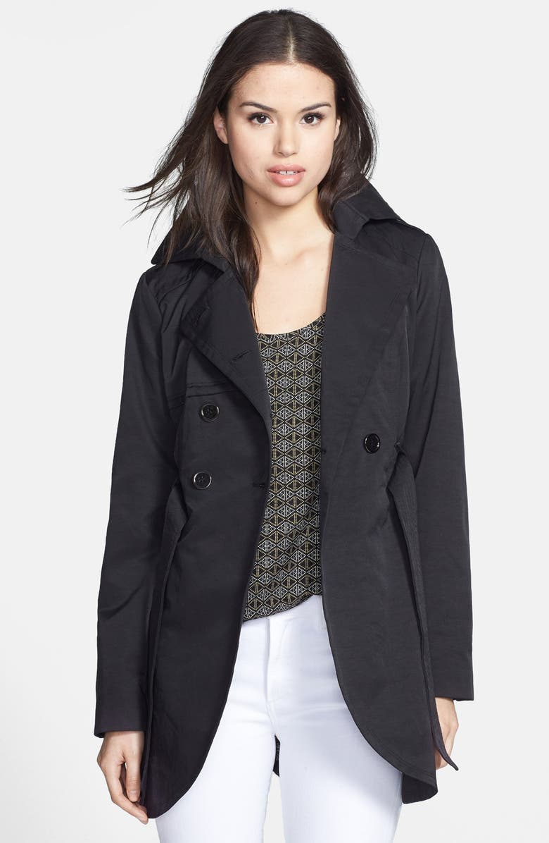 GUESS Cutaway Front Trench Coat, Main, color, 001