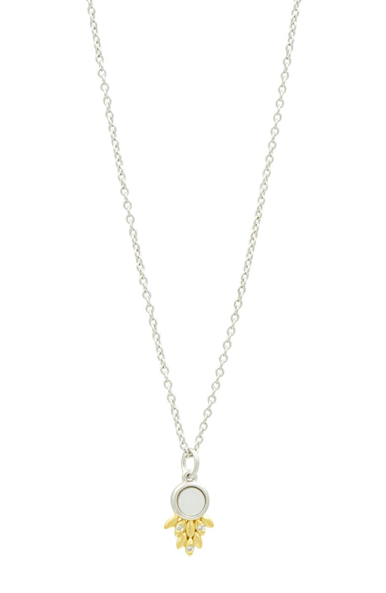 FREIDA ROTHMAN Two-Tone 14K Gold Plated Sterling Silver Fleur Bloom Small Mother of Pearl & CZ Pendant Necklace, Main, color, WHITE/ GOLD