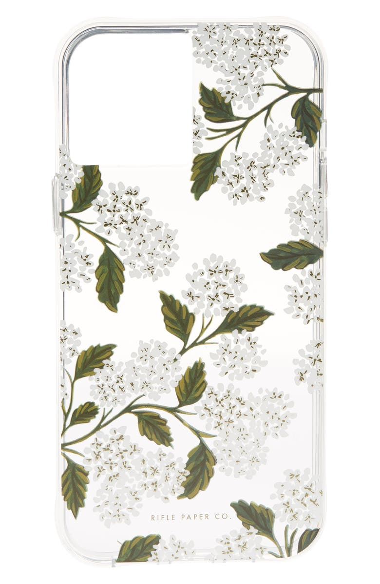 CASE-MATE<SUP>®</SUP> x Rifle Paper Co. iPhone 12/12 Pro, 12 Pro Max & 12 Mini Case, Main, color, HYDRANGEA WHITE