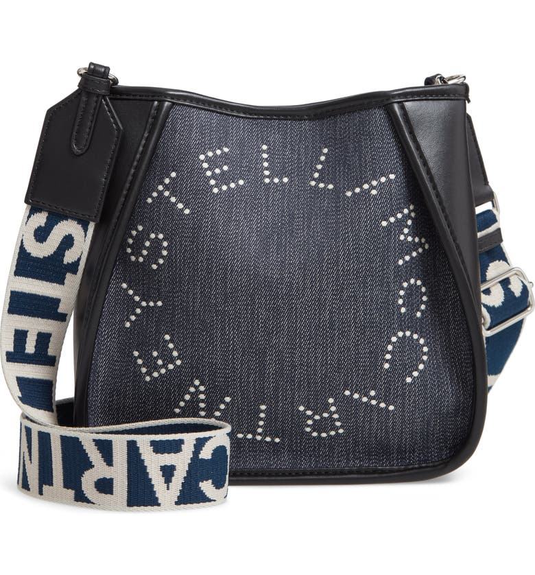 STELLA MCCARTNEY Mini Embroidered Logo Denim & Faux Leather Crossbody Bag, Main, color, 410