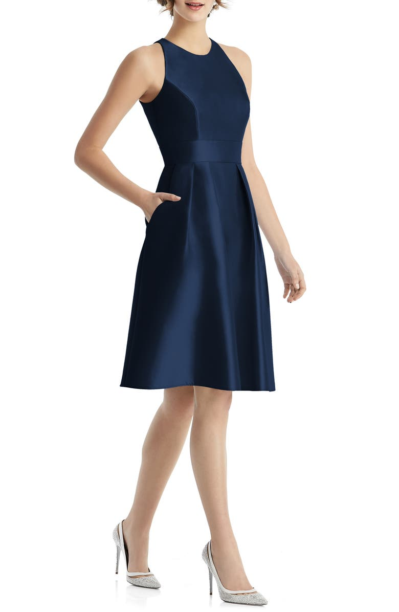 ALFRED SUNG Jewel Neck Satin Cocktail Dress, Main, color, MIDNIGHT