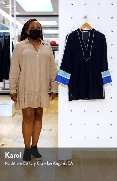 Colorblock Cotton Cover-Up Tunic, sales video thumbnail