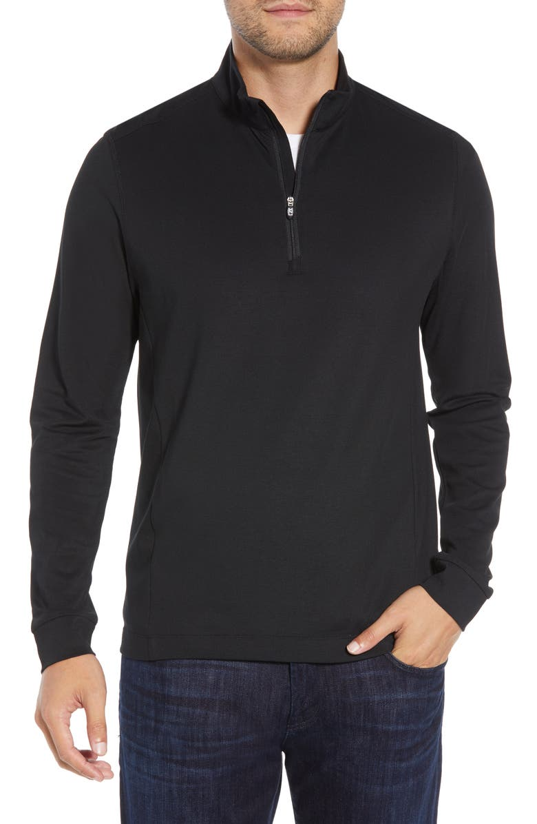 CUTTER & BUCK Advantage Regular Fit DryTec Mock Neck Pullover, Main, color, BLACK