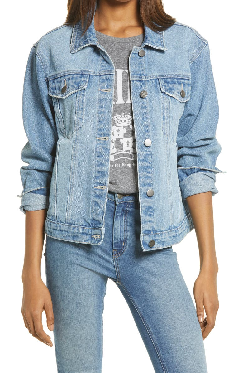 TREASURE & BOND Boyfriend Denim Jacket, Main, color, DENIM