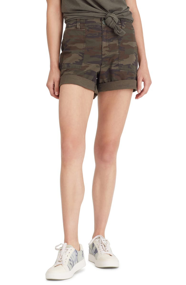 SANCTUARY Camo Print Stretch Cotton Squad Shorts, Main, color, 300