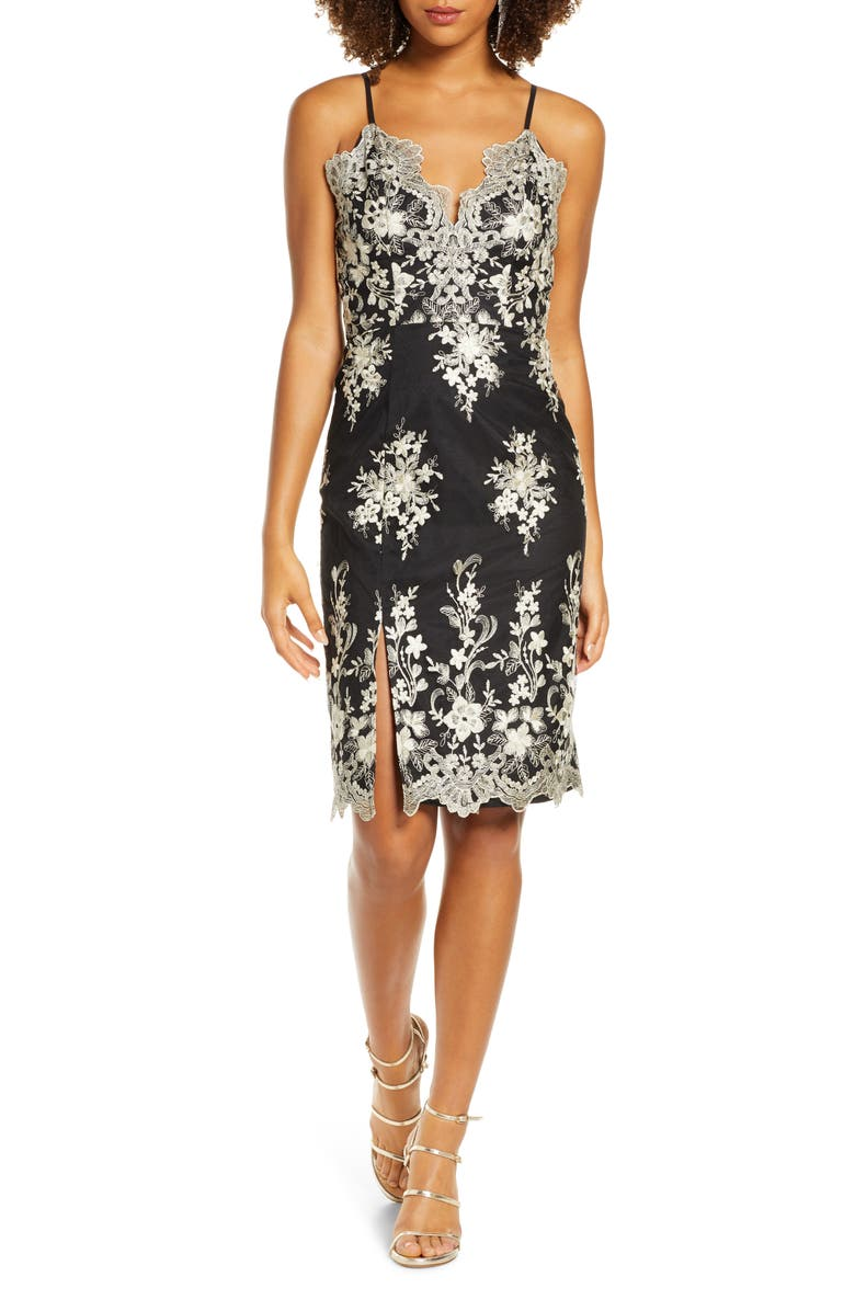 CHI CHI LONDON Hally Metallic Floral Embroidered Cocktail Dress, Main, color, 001