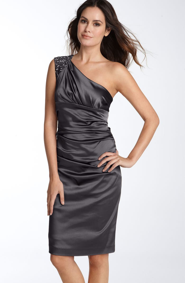 SUZI CHIN FOR MAGGY BOUTIQUE Beaded One Shoulder Stretch Satin Sheath Dress, Main, color, 001