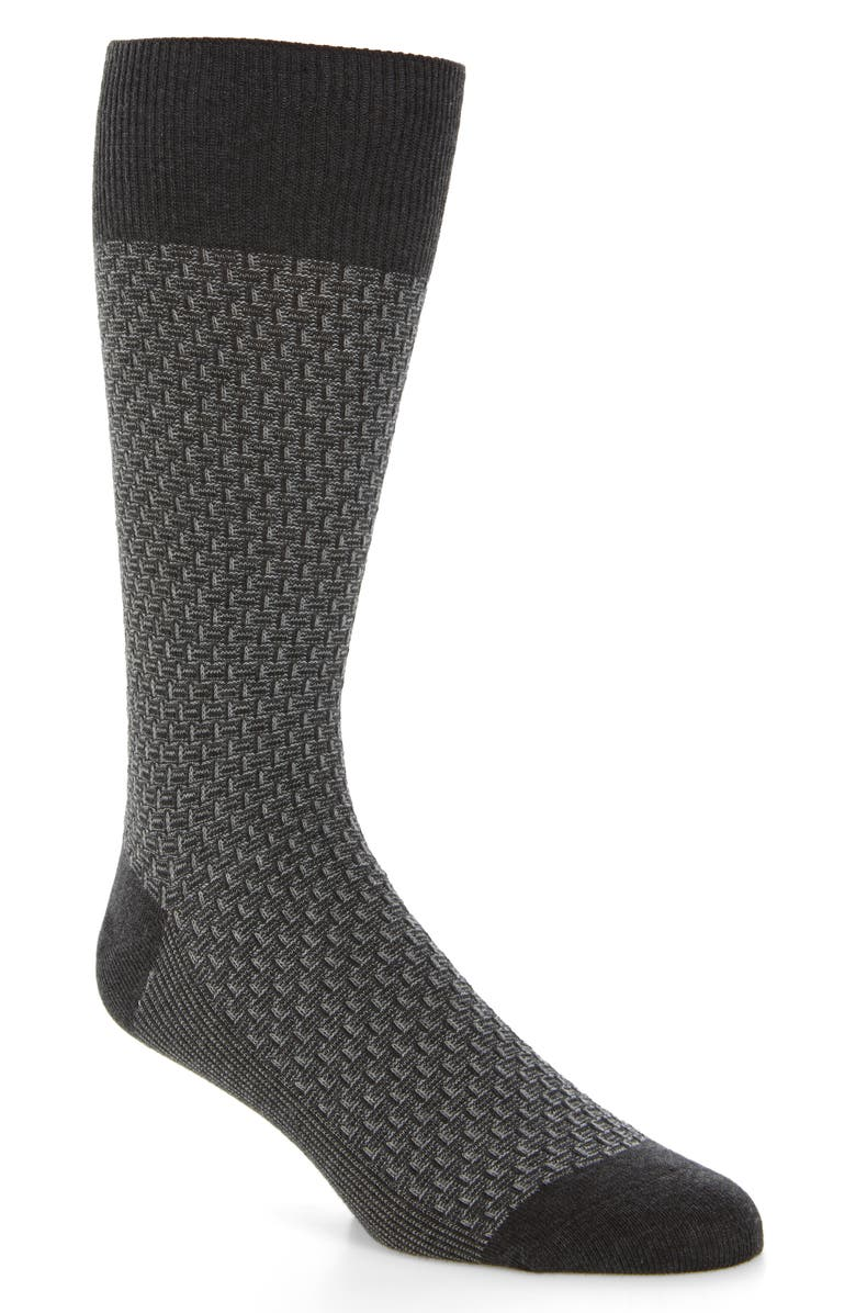 COLE HAAN Dog Bone Texture Crew Socks, Main, color, CHARCOAL