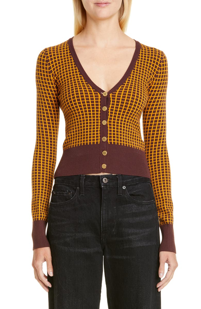 SIMON MILLER Chiz Check Jacquard Crop Cardigan, Main, color, 200