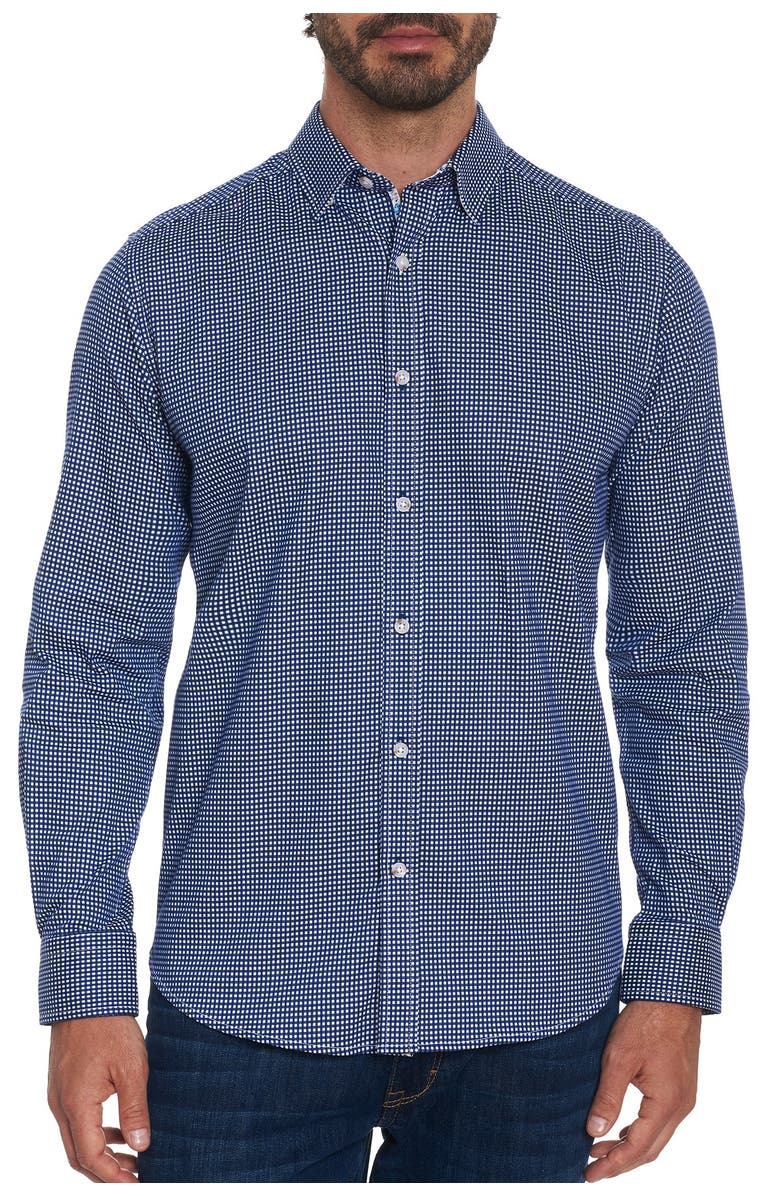 ROBERT GRAHAM Check Augusto Tailored Fit Shirt, Main, color, NAVY