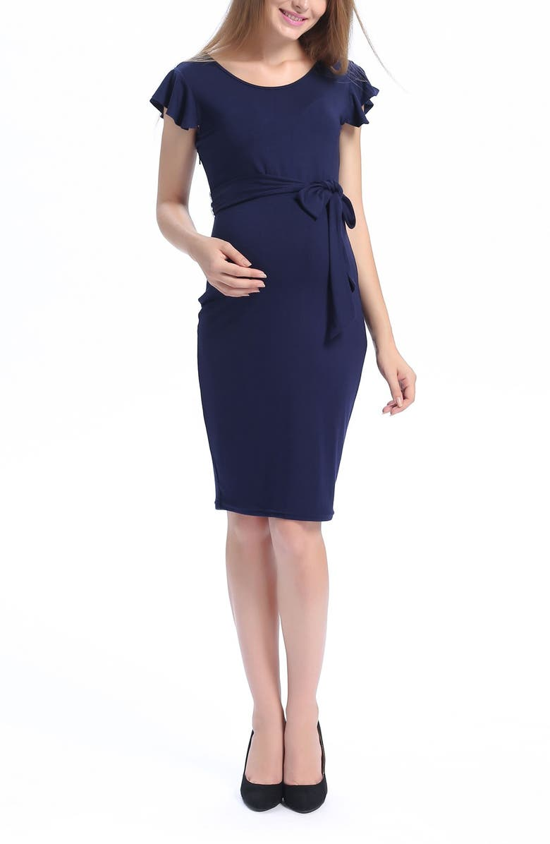 KIMI AND KAI Lucile Ruffle Sleeve Maternity Dress, Main, color, NAVY