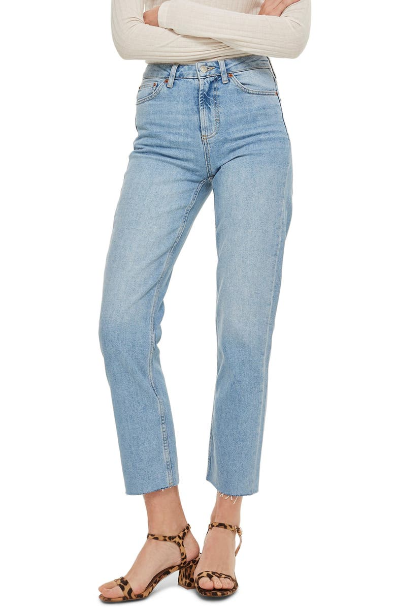 TOPSHOP Raw Hem Crop Straight Leg Jeans, Main, color, BLEACH