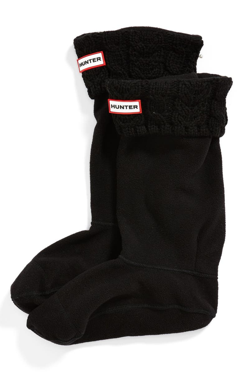 HUNTER Tall Cable Knit Cuff Welly Socks, Main, color, 001