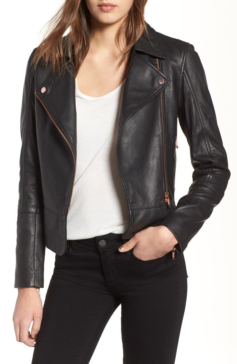 TED BAKER LONDON Lizia Leather Biker Jacket, Main, color, 001