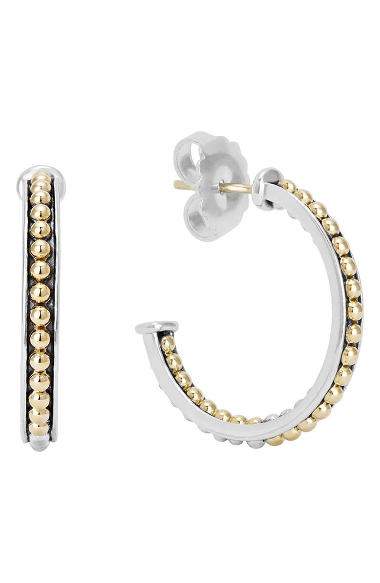 LAGOS KSL Beaded Hoop Earrings, Main, color, SILVER/ GOLD