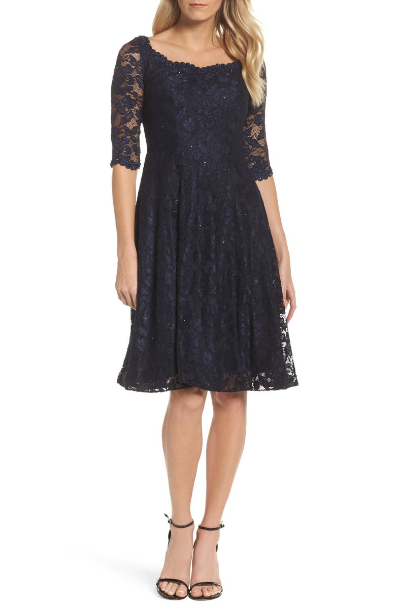 LA FEMME Fit & Flare Lace Dress, Main, color, NAVY