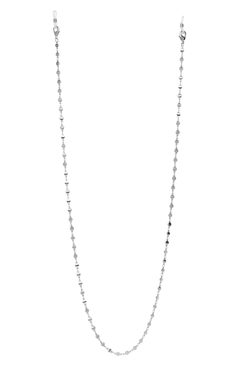 NORDSTROM Halogen<sup>®</sup> Metal Disc Adult Face Mask Chain, Main, color, RHODIUM