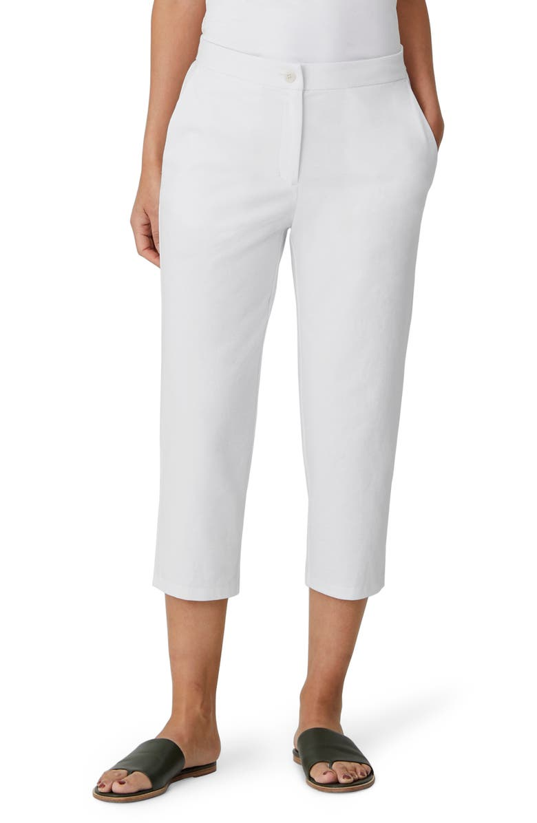 EILEEN FISHER Tapered Crop Pants, Main, color, WHITE