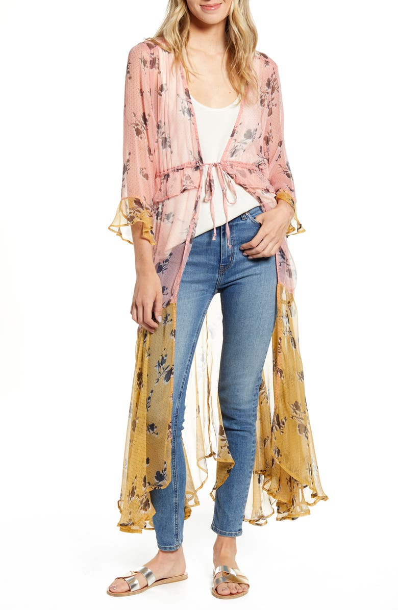 NFC Felicia Floral Colorblock Sheer Duster, Main, color, 650