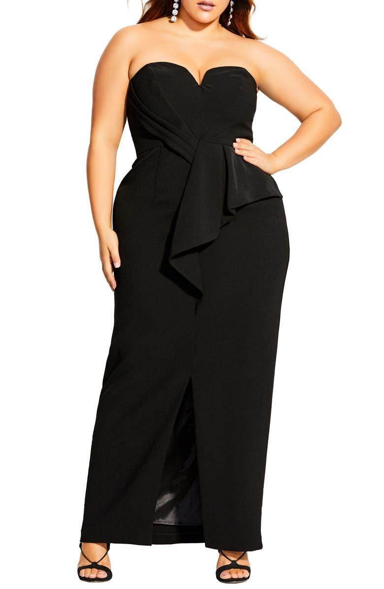 CITY CHIC Strapless Column Gown, Main, color, 001