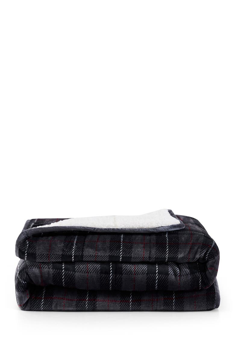 REJUVE Plaid Grey Shiny Velvet Reversible Faux Shearling Weighted Throw Blanket, Main, color, PLAID GREY