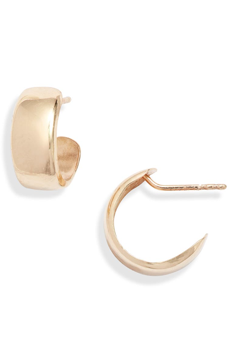 BONY LEVY 14K Gold Small Flat Wide Hoop Earrings, Main, color, YELLOW GOLD