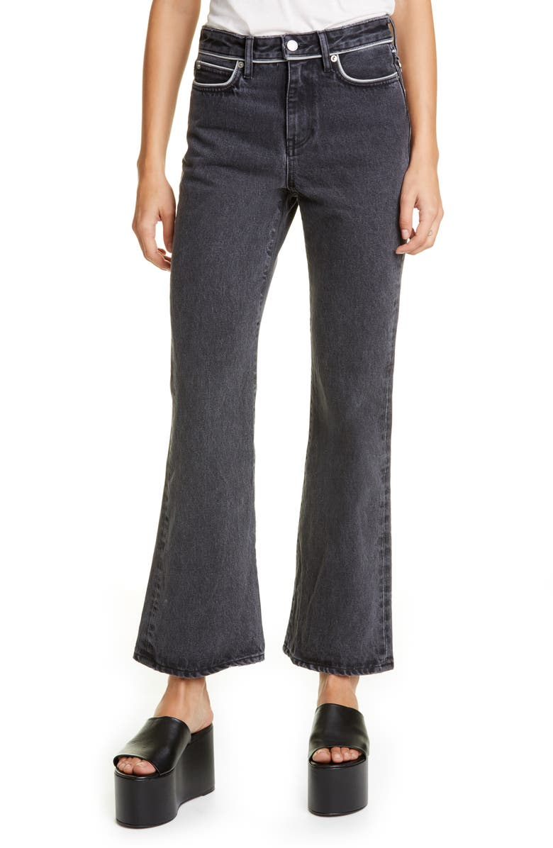 SIMON MILLER Piping Crop Flare Jeans, Main, color, 001